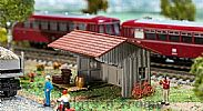 Faller 130185 OO/HO Scale Model Kit WOODSHED - SMALL WOODEN SHED WITH PITCHED ROOF