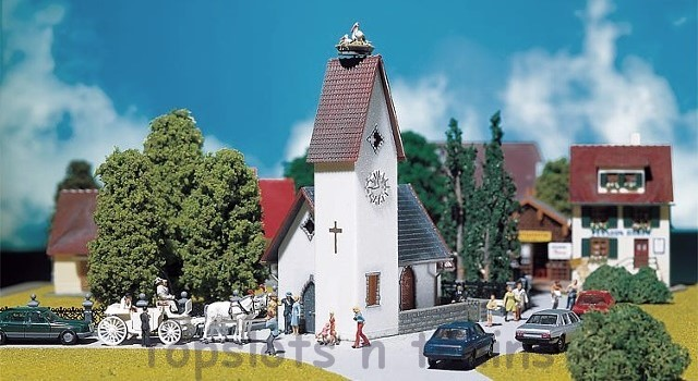 Faller 130236 OO/HO Scale Model Kit - VILLAGE CHURCH WITH STORKS NEST - ERA II