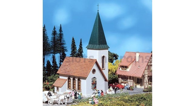 Faller 130240 OO/HO Scale Model Kit - VILLAGE CHURCH - WITH POINTED TOWER