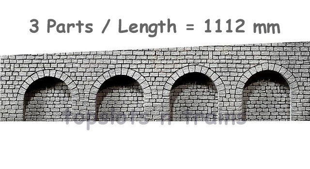 Faller 170839 OO/HO Scale Decorative Panel - 3 PART RIGHT SLOPE ARCADE WALLS – NATURAL STONE