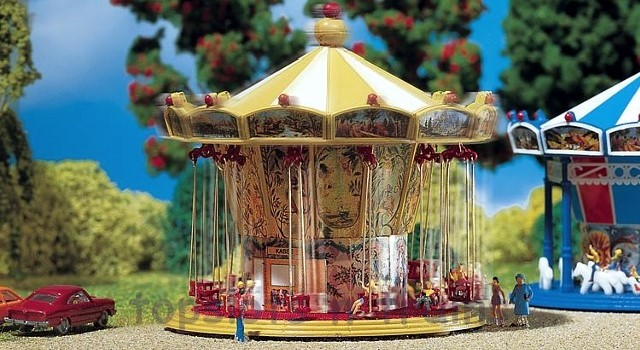 Faller 242315 N Scale Fairground Model Kit - CHAIROPLANE - ERA II – WITH DRIVE MOTOR