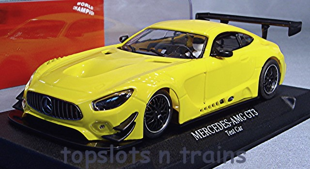 Nsr-0093-AW - MERCEDES AMG GT3 TEST SLOT CAR YELLOW ANGLEWINDER