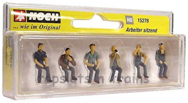 Noch 15278 OO/HO Scale Hand-Painted Figures - SEATED WORKERS NO BENCH –