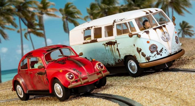 Scalextric C3966A Limited Edition - RUSTY RIDES VOLKSWAGEN VW BEETLE + CAMPER VAN T1B