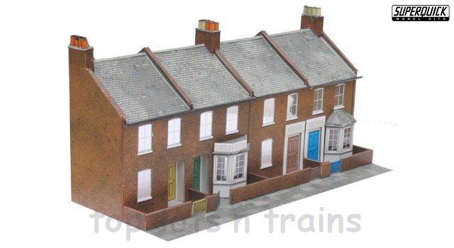 Superquick SQ-C6 OO/HO Scale - LOW RELIEF RED-BRICK TERRACE HOUSE FRONTS CARD KIT