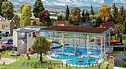 Faller 130150 OO/HO Scale Model Kit MUNICIPAL INDOOR SWIMMING POOL WITH WATERSLIDE