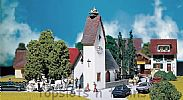 Faller 130236 OO/HO Scale Model Kit VILLAGE CHURCH WITH STORKS NEST - ERA II