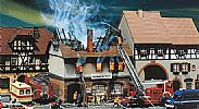 Faller 130429 OO/HO Scale Model Kit ZUR SONNE - BURNED DOWN RESTAURANT