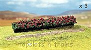 Faller 181352 OO/HO/N Scale 3 X PREMIUM HEDGES BLOOMING - RED FLOWERS