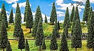 Faller 181539 OO/HO Scale Trees 50 X ASSORTED FIR TREES / 50 - 150 mm