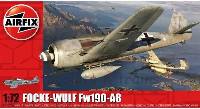 Airfix A01020A 1/72 Scale Model Kit - FOCKE-WULF Fw190-A8 FIGHTER PLANE