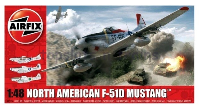 Airfix A05136 1/48 Scale Model Kit  - NORTH AMERICAN F-51D MUSTANG FIGHTER PLANE