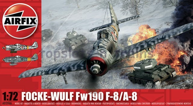 Airfix A02066 1/72 Scale Model Kit - FOCKE-WULF Fw190 F-8/A-8 GERMAN FIGHTER PLANE