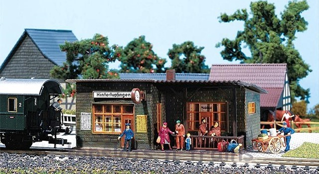 Faller 110091 OO/HO Scale Model Kit - WAYSIDE STOP WITH GLASS ROOFED SHELTER AND CLOCK