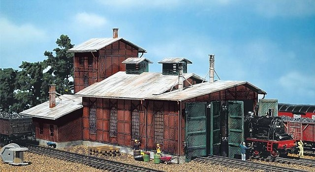 Faller 120161 OO/HO Scale Model Kit - ENGINE SHED - FOR 2 LOCOS UP TO 190 MM OVER BUFFER
