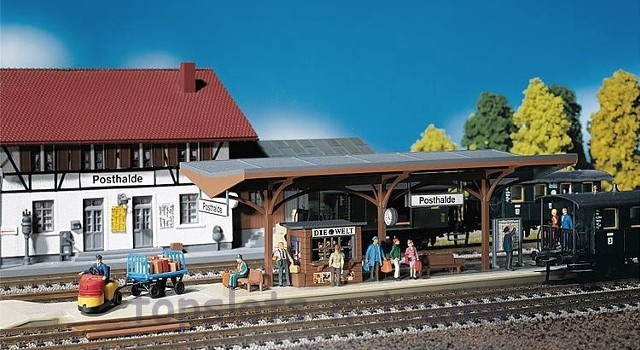 Faller 120189 OO/HO Scale Model Kit - COVERED PLATFORM WITH TRACK LOWERING
