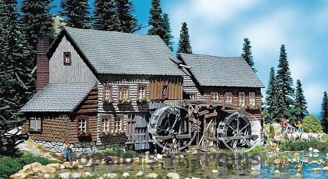 Faller 130388 OO/HO Scale Model Kit - HEXENLOCH WATER MILL - WITH MOTORS