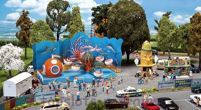 Faller 140341 OO/HO Scale Fairground Model Kit - COUNTY FAIRGROUND SET - WITH OCTOPUS RIDE V