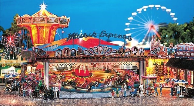 Faller 140437 OO/HO Scale Fairground Model Kit - MUSIC EXPRESS ROUNDABOUT RIDE - WITH DRIVE MOTOR