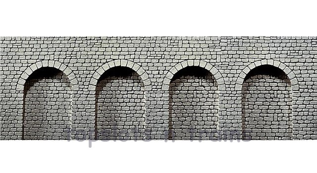 Faller 170838 OO/HO Scale Decorative Panel - NATURAL STONE ARCADE WALL - CLOSED ROUND ARCHWAYS