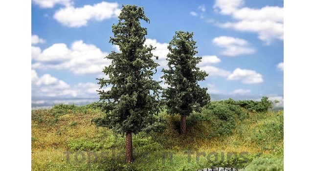 Faller 181528 OO/HO Scale Trees - 2 X FIR TREES / 110 mm and 140 mm