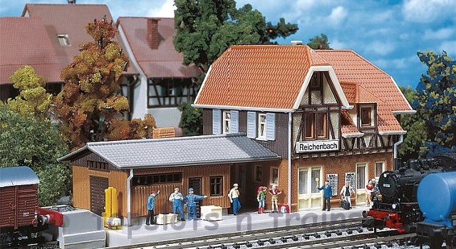 Faller 212104 N Scale Model Kit - REICHENBACH STATION - ATTACHED FREIGHT SHED