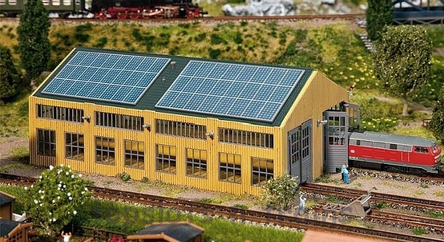 Faller 222110 N Scale Model Kit - MODERN ENGINE SHED - 2 ROAD WITH SOLAR PANELS