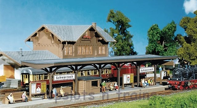 Faller 222124 N Scale Model Kit - PLATFORM - WITH DECORATION PARTS