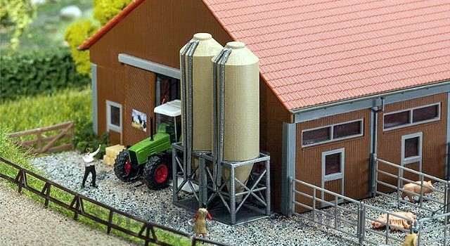 Faller 222214 N Scale Model Kit - FEED SILOS - DOUBLE WITH OUTER TUBES