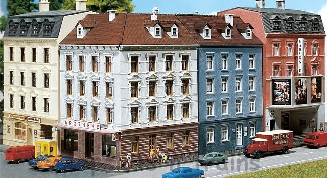 Faller 232262 N Scale Model Kit - 2 X HOUSES - CORNER HOUSE WITH CHEMISTS