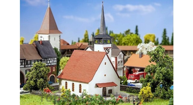 Faller 232314 N Scale Model Kit - VILLAGE CHURCH - WITH POINTED STEEPLE