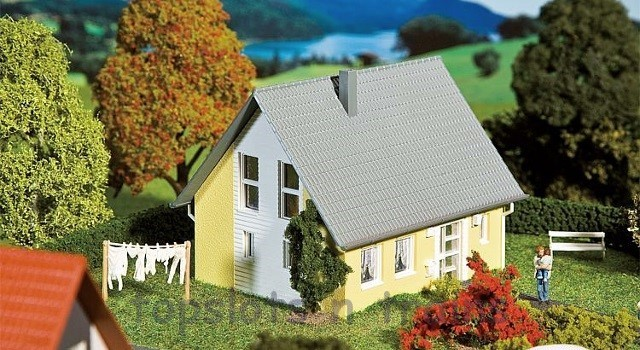 Faller 232322 N Scale Model Kit - DETACHED HOUSE - YELLOW