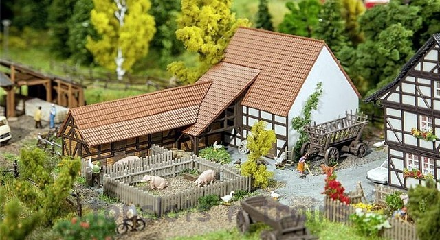 Faller 232371 N Scale Model Kit - RURAL / AGRICULTURAL BUILDING WITH ACCESSORIES