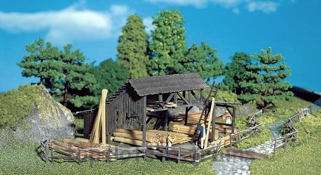 Faller 272530 N Scale Model Kit - LUMBER YARD - WITH ASSORTED BOARDS AND TIMBER
