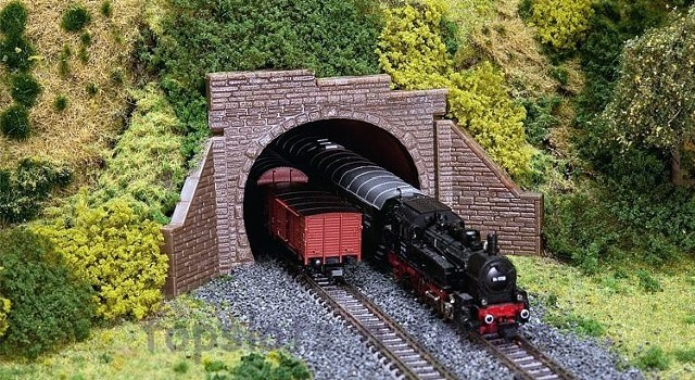 Faller 272579 N Scale Model Kit - 2 X DOUBLE TUNNEL PORTALS - WITH BRICK TUNNEL