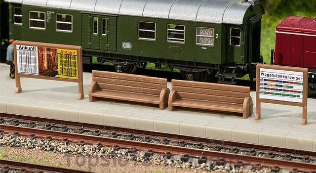 Faller 272904 N Scale Model - PLATFORM BENCHES AND BILLBOARDS