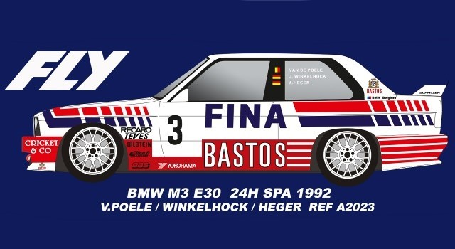 Fly-Car-Model A2023 - BMW M3 SPA 24HRS 1992 POELE WINKLEHOCK HEGER