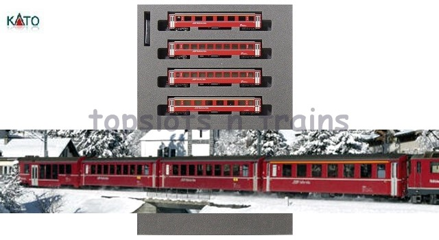 Kato Europe 10-1414 N Scale - RhB EW1 RED - 4 COACH ADD ON SET