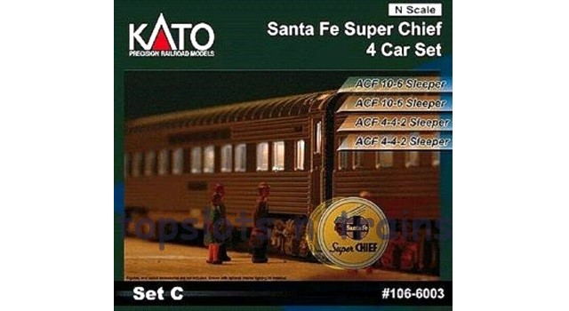 Kato Usa 106-6003 N Scale - SANTA FE SUPER CHIEF 4 CAR / COACH SET C