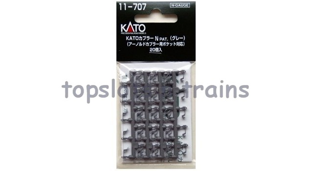 Kato 11-707 N Gauge - BUCKEYE COUPLINGS 20 X GREY KNUCKLE COUPLERS