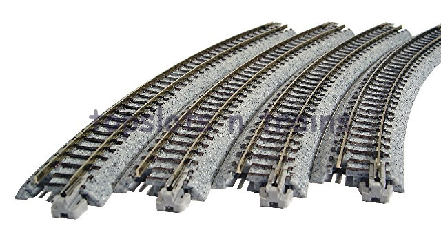 Kato 20-130 N Gauge - R348-30 BALLASTED UNITRACK CURVED TRACK - 4 PACK