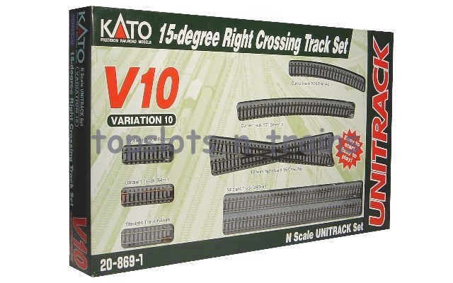 Kato 20-869 N Gauge - V10 UNITRACK - 15-DEGREE RIGHT CROSSING TRACK SET
