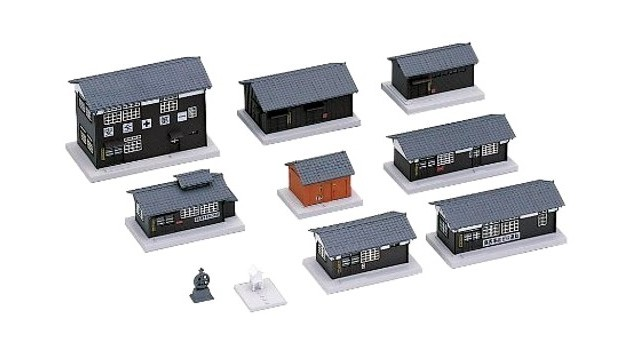 Kato 23-233 N Scale - WOODEN STATION BUILDINGS SET - READY BUILT