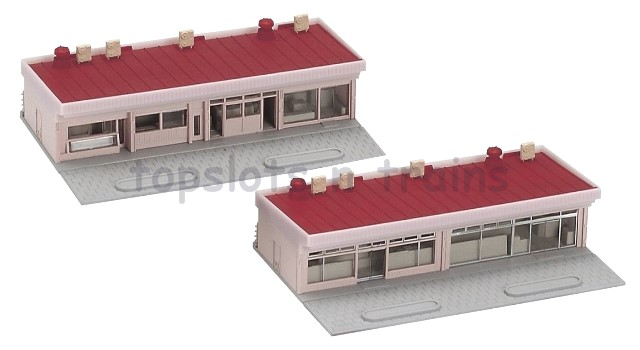 Kato 23-408A N Scale Dio-Town - 2 X RED ROOF SMALL STRIP MALL - STATION SHOPS