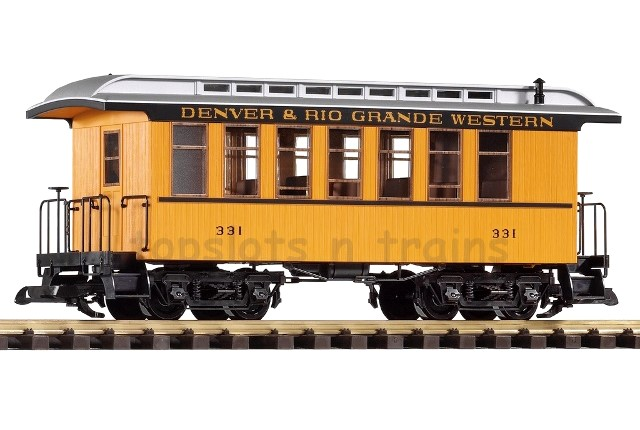 Piko 38600 G Scale - D-RGW WOOD PASSENGER COACH - CAR 331 YELLOW