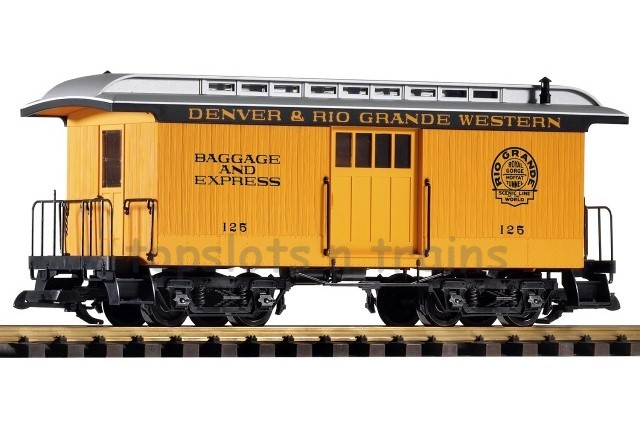 Piko 38603 G Scale - D-RGW WOOD BAGGAGE CAR - 125 YELLOW