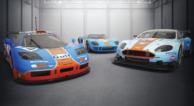 Scalextric C4109A Limited Edition - GULF ROFGO CARS GT40 / MCLAREN F1 AND ASTON MARTIN
